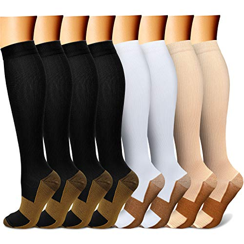 QUXIANG Copper Compression Socks for Women and Men - Best Medical Sports, Nursing, Running, Cycling, Athletic, Edema, Diabetic, Varicose Veins, Travel, Pregnancy & Maternity 15-20 mmHg (L/XL,Multi 18) (Benefits Of Wearing Compression Socks For Nurses)