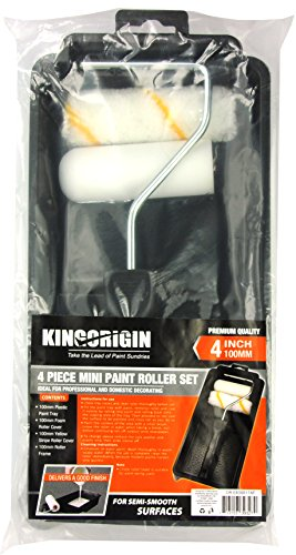 KingOrigin premium 4 inch Paint Roller Kit 4 Piece trim and touch roller kit 30004F (Trim Roller Set)