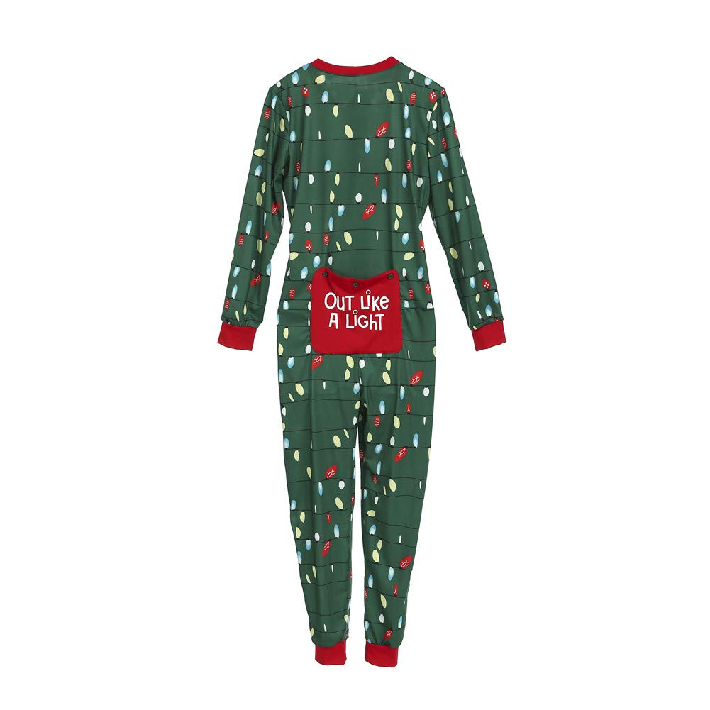 Family Matching Christmas Pajamas Set Adult Kids Lights Romper Funny Dropseat Onesie Sleepwear