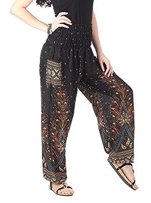 CandyHusky. Yoga Chic Women's Rayon Smocked Waist Floral Print Baggy Boho Harem Yoga Pants