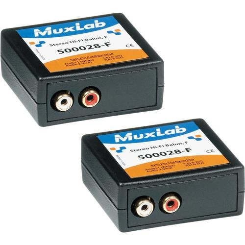 Muxlab Stereo Hi-Fi Balun with Color Coded RCA Female Plugs, 2 Pack ()