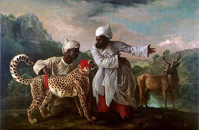 Stubbs (Cheetah and Stag with Two Indians, c.1765) Canvas Art Print Reproduction (13.3x20.1 in) (34x51 (1765 Art)