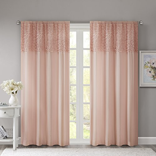 Madison Park Pink Curtains For Living Room Cottage Country Rod Pocket Ruffle Bedroom Solid Bessie Fabric Window 50X84 1 Panel Pack