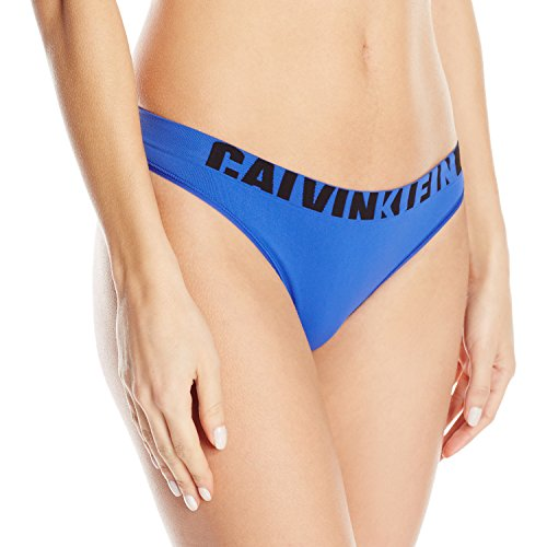 Calvin Klein Women's Seamless Logo Thong Panty, Amplified Blue, Large -