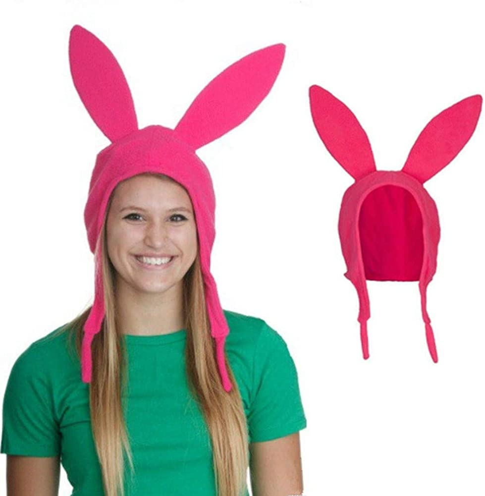 Pink Bobs Burgers Louise Cosplay Pink Bunny Ears Hat