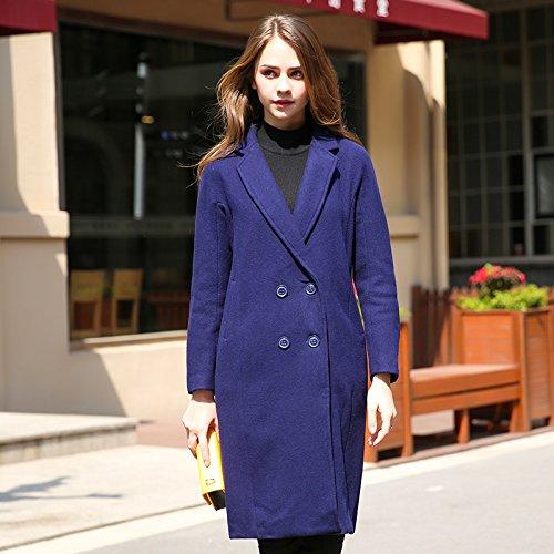 Xuanku Long Coat Warm Double Row Buckle Temperament Female Windbreaker Dark blue