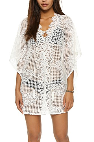 Yonala Womens Lace Floral Hollow Out Beachwear Bikini Cover Up Dress (One Size, BB-White)