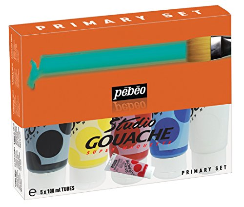 PEBEO Studio Gouache Primary Assorted 100-Milliliter Tubes, Set of 5