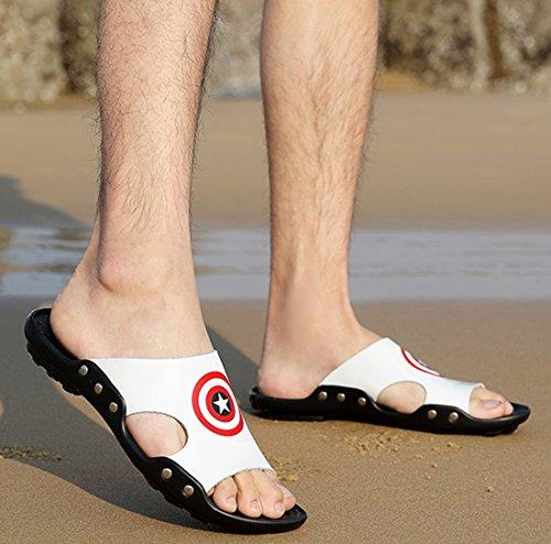 Tda Mens Sommar Sandaler Strand Läder Tofflor Skor Vita