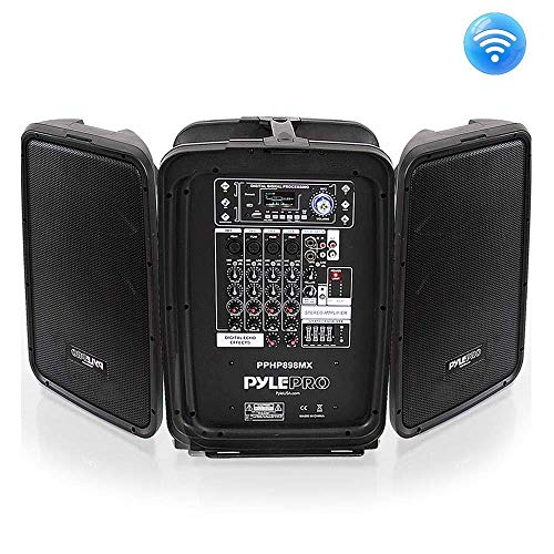 "Pyle PPHP898MX 600 WATT 8-Channel Portable Bluetooth Wireless PA Speaker Amplifier Kit with 8"" Subwoofer and 1"" Horn Tweeter, MP3, AUX - USB XLR 1/4"" RCA (Pack of 4)"