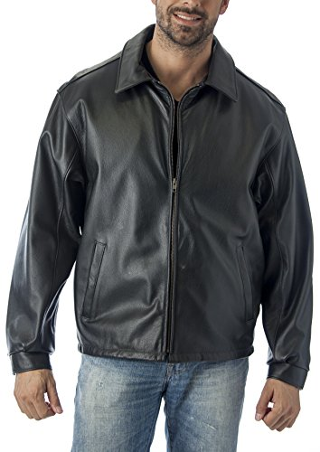 Reed Men's Casual Leather Jacket Union 4XL Black - James Dean Style Jacket
