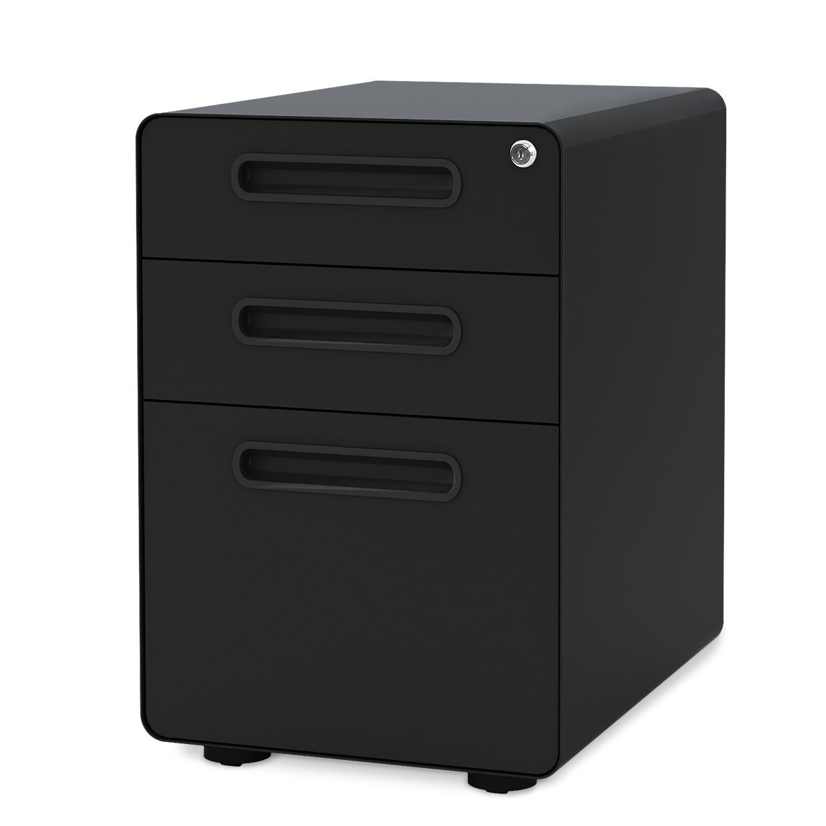 DEVAISE 3-Drawer Mobile File Cabinet with Anti-tilt Mechanism,Legal/Letter Size (Black)