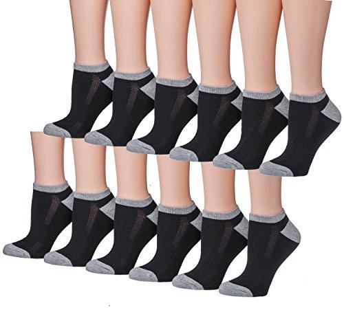 Tipi Toe Women's 12-Pairs Low Cut Athletic Sport Peformance Socks, (sock size 9-11) Fits shoe size 6-10, SP25-12