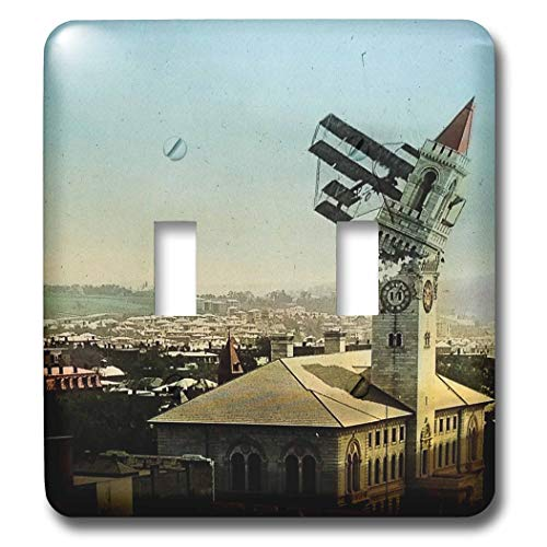 3dRose Scenes from the Past - Magic Lantern - Dangers of Early Flight Biplane Chrashing into a Building Vintage - Light Switch Covers - double toggle switch (lsp_301249_2) ()