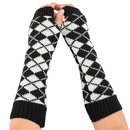 Big Teresamoon Women Winter Wrist Arm Warmer Rhombus Knitted Fingerless Gloves Mitten