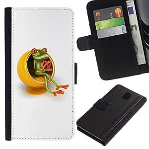 KingStore / Leather Etui en cuir / Samsung Galaxy Note 3 III / Amarillo Muebles Pensador Rana Blanca