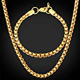 GDSTAR Gold Chain Box Set Men Trendy Jewelry Bracelets Gift Chain Stainless Steel 18K Gold Plated Men's Jewelry Set