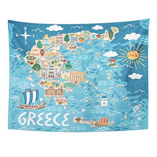 Emvency Tapestry Artwork Wall Hanging Map of Greece Travel with Greek Landmarks Building Plants and Traditional Food 60x80 Inches Tapestries Mattress Tablecloth Curtain Home Decor Print ()