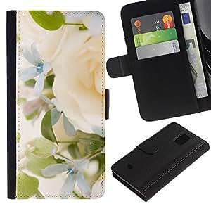 KingStore / Leather Etui en cuir / Samsung Galaxy S5 Mini, SM-G800 / Yellow Rose Green Spring brillante Novia