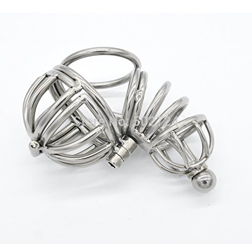 ccTina Stainless steel male chastity device with penis plug cock cage penis cage chastity belt sex toys for men 1pcs by ccTina