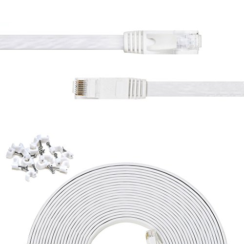 - CFCAB Ethernet Cable (35 Ft),Snagless RJ45 Connectors for Computer Networking Cord, Flat Cat-6 Patch Cable for Internet Network, Supports cat5e / cat5 Standards (550MHz, 10Gbps, White)