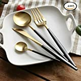 Flatware Set,Stainless Steel Flatware Cutlery Set 4-Pieces Service for 1 Include Knife Fork Spoon Dishwasher Safe Heavy Duty Solid Durable Utensils Combo Value Pack for Kitchen Hotel Restaurant Black