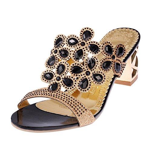 forme de Été Sandales Ouvert D'Été Noir Sandales Flops Flip avec Femmes Plate Strass Chaussures Antidérapant Talons Chaussures Pantoufles Chaussures Femmes D'Orteil Homebaby w0zXqpq