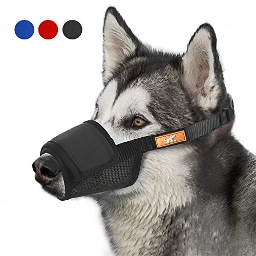 Adjustable Muzzle - Soft Dog Muzzle Cover with Dogs Hook & Loop for Small,Medium and Large Dogs, Anti Biting and Chewing, Adjustable, Breathable(M,Black)