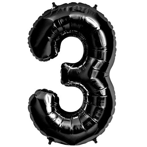number 3 balloon black - 3