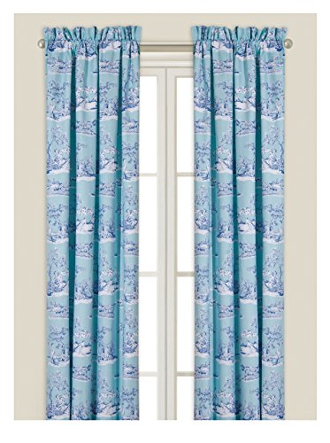 C&F Home Hampstead Toile Drapery Panel, Blue/White