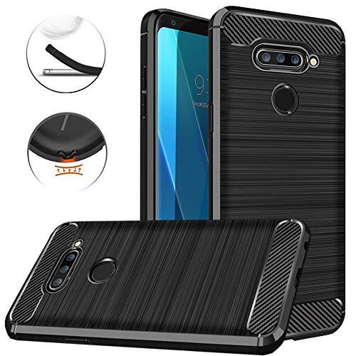 LG V40 Case, LG V40 ThinQ Case, Dretal Shock Resistant Brushed Texture Soft TPU Phone case Anti-Fingerprint Flexible Full-Body Protective Cover for LG V40 ThinQ/Storm (Black)