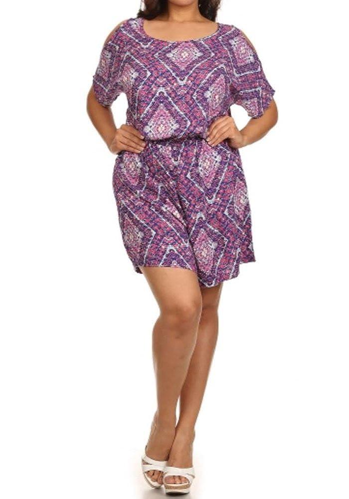 Women's Plus Size Diamond Print Romper Elastic Waist Open Back Button Casual Violet) COCCJ2640