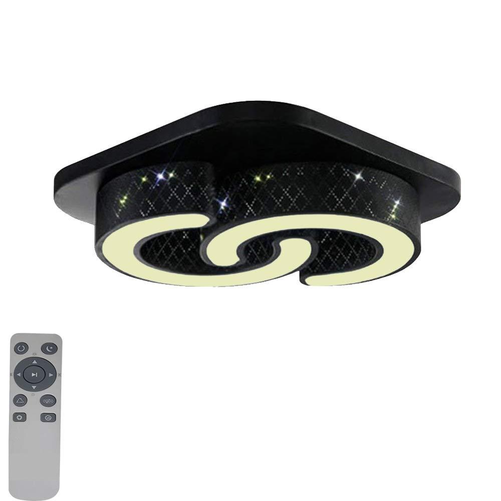 MYHOO 64W Dimmbar LED Deckenleuchte Modern Deckenlampe Flur Schlafzimmer Küche Flur Deckenlampe Wohnzimmer Lampe (Dimmbar 3000-6500K) (Schwarz-64W) d2696e