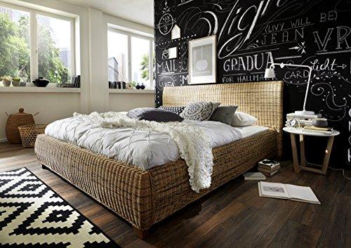SAM® Rattanbett Ngan 9137, 200 x 200 cm, in dust, Bett in natürlichem Look in ausgefallenem Design, angenehmer Liegekomfort, widerstandsfähige Oberfläche
