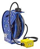 Coxreels EZ-Coil Safety Series Power Cord Reel with Quad Receptacle - 50ft., Model# EZ-PC13-5012-B