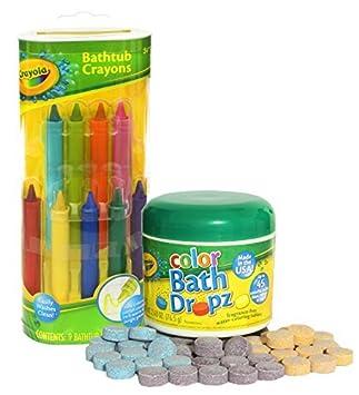 Amazon.com: Crayola Bathtub Crayons with Crayola Color Bath Drops 60 ...