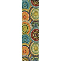 Orian Rugs Veranda Indoor/Outdoor Merrifield Collage Runner Rug, 23 x 8, Green