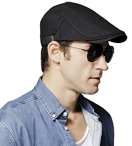 Bellady Men's Cotton Flat IVY Gatsby newsboy Driving Hat Cap,Black Style - Mens Style Gatsby