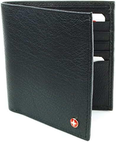 Alpine Swiss Men's Genuine Leather Hipster Bifold Wallet