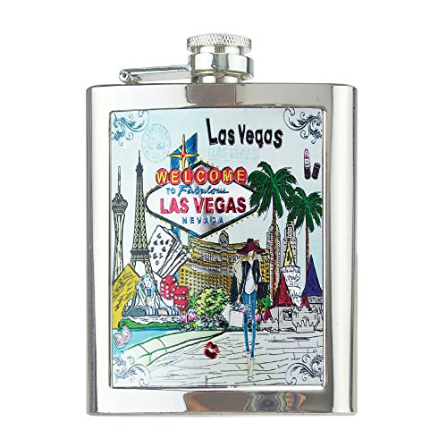 Stainless Steel Flask 6 Ounce - Welcome to Fabulous Las Vegas Nevada Souvenir Drinking Hip -