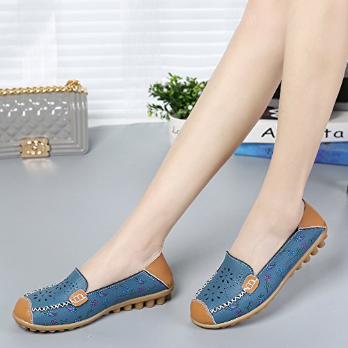 Joansam Women Bright Color Casual Flower Printed Slip On Leather Flat Pumps Shoes Blue2 4VzoOkH