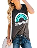 Nlife Women Good Vibes Tank Blouse Round Neck Sleeveless Rainbow Casual Ladies Waistcoat Tank Top