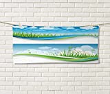 Anniutwo Nature,Travel Towel,Fresh Summer Meadow Frames Grassy Green Field Rural Lawn Environment Eco,Quick-Dry Towels,Blue Green White Size: W 14'' x L 27.5''