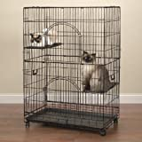 "ProSelect Easy Cat Cage, Economical and Customizable, Durable  Wire and Plastic - Black 351/2""L x 221/4""W x 48""H"