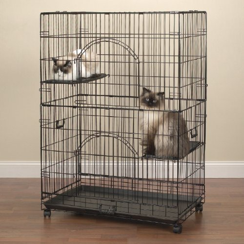 ProSelect Easy Cat Cage, Economical and Customizable, Durable  Wire and Plastic - Black 35½''L x 22¼''W x 48''H by Pro Select