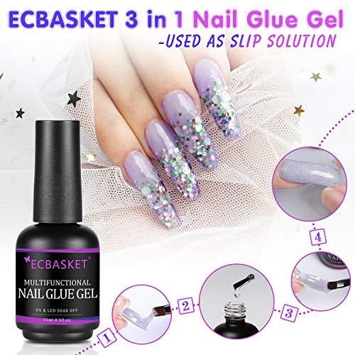 Nail Glue for Acrylic Nails, Brush on Nail Glue 15ML, 3 in 1 Acrylic Nail Glue, Multifunctional Nail Gel Glue, Curing Needed Nail Glue for Press On Nails, Base Coat, Slip Solution for Poly Nail Gel