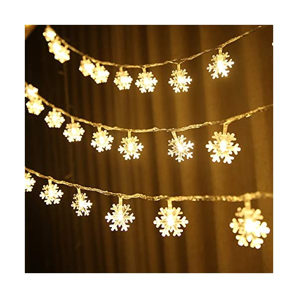 Catena Luminosa,Luci natalizie a forma di fiocco di neve,per Natale,giardino,terrazza,camera da letto,feste,interni ed esterni,luce bianca calda 5 spesavip