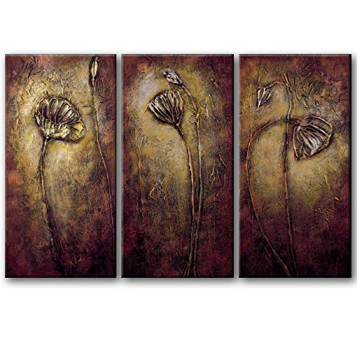 Wieco Art 3 Piece Abstract Floral Oil Paintings On Canvas Wall Art Ready To  Hang For Bedroom Kitchen Home Decorations Bronze Elegance Modern Stretched  And ...