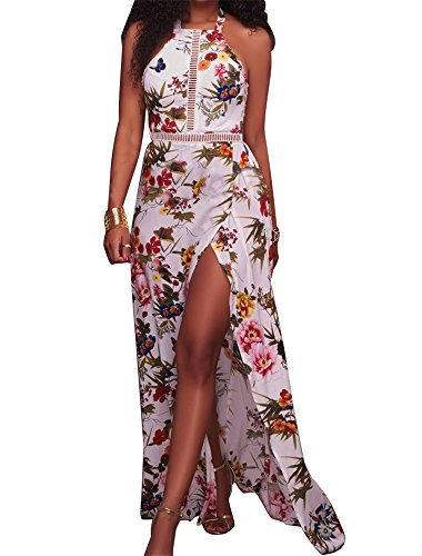 CutieLove Women's Summer Casual Sexy Floral Print High Halter Neck Open Back Split Beach Party Long Maxi Dress