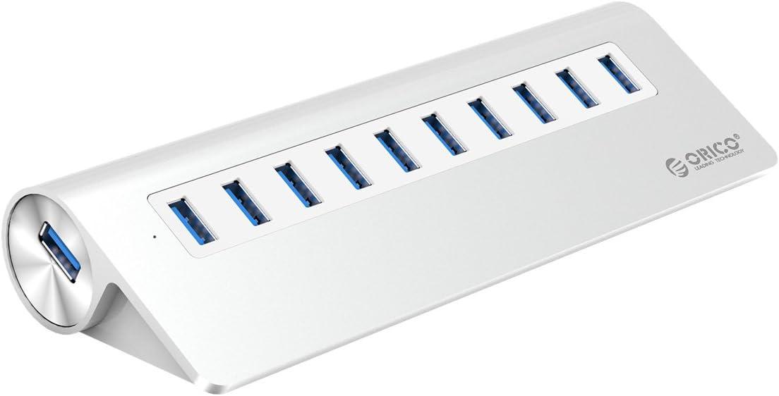 ORICO USB Hub,10-Port USB 3.0 Triangle Aluminum Alloy Hub Splitter - Perfect for MacBook, Mac Pro, iMac, Notebook, PC - Silver